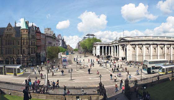 Transit, but no cars, leaves more room for pedestrians in Dublin city center.